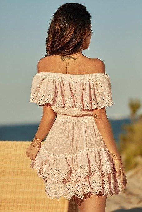 Arden - Sukienka boho z naturalnej tkaniny z jasnoróżowym farbowaniem