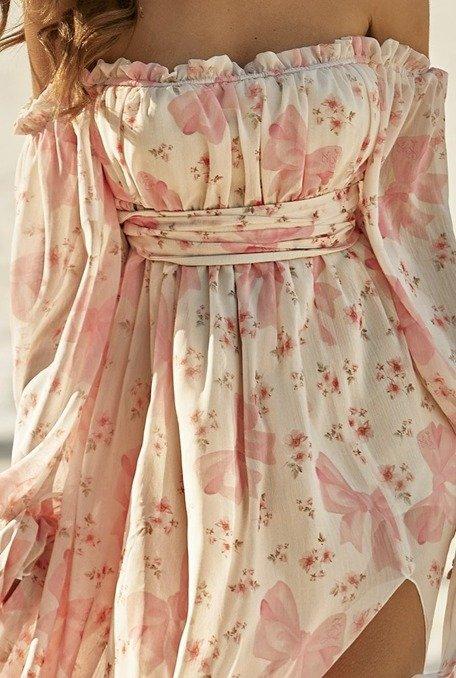 """Lara - Sukienka z delikatnej logowanej tkaniny """"Lou Girls"""" o luźnym kroju"""