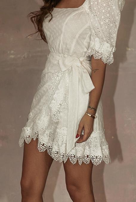 Moelle - Sukienka w stylu boho z naturalnej tkaniny z dodatkiem gipiury