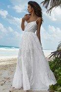 Bueno - Biała suknia maxi na ramiączkach