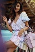 Ruffle - Farbowana sukienka ze zwiewnej koronkowej tkaniny